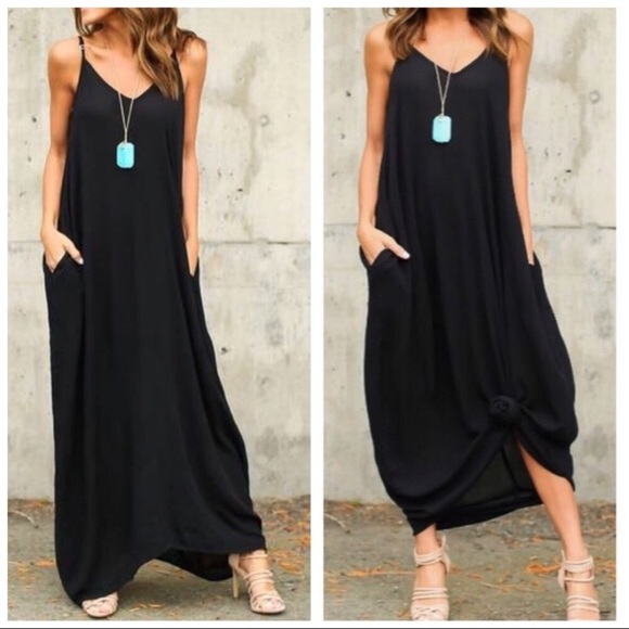 2c4f45c12e Black oversized cocoon maxi dress with pockets